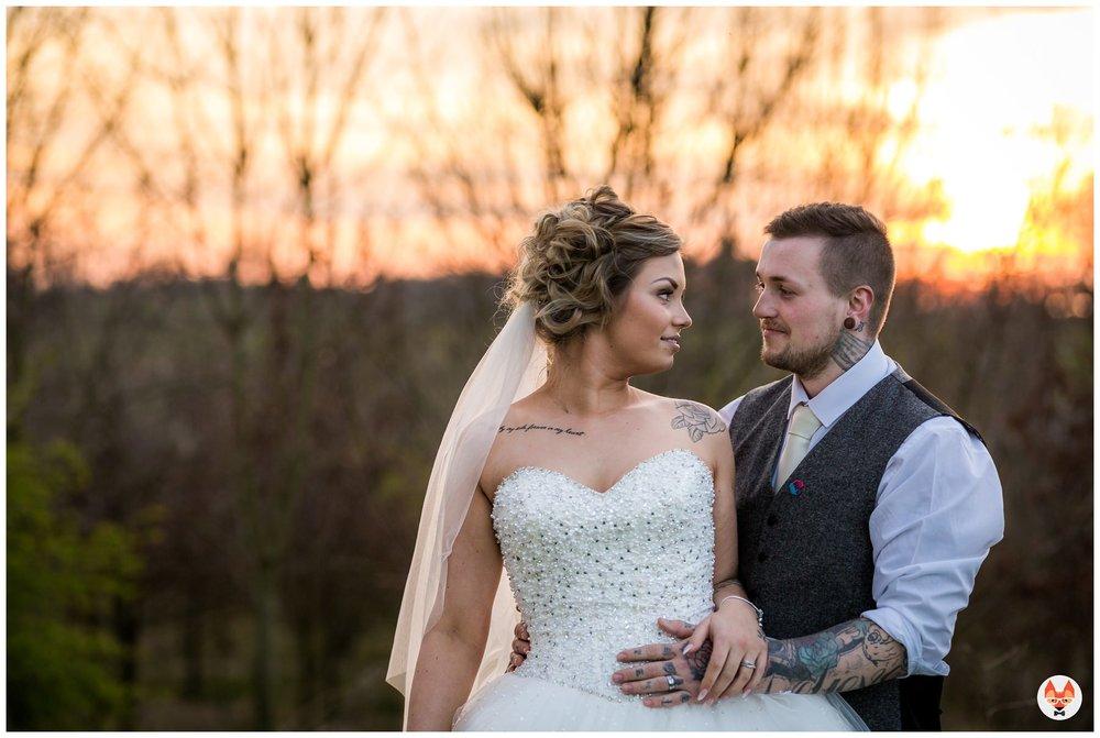 alternative wedding photography with sunset
