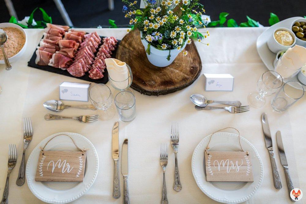 table setup at wedding