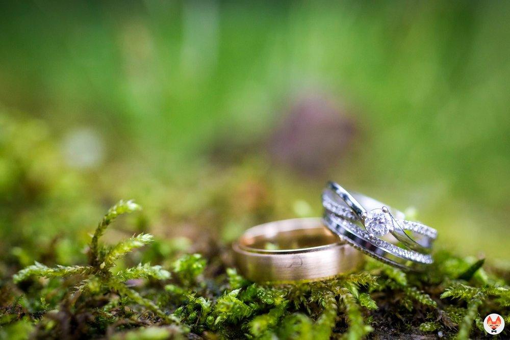 detailed shot of wedding rings