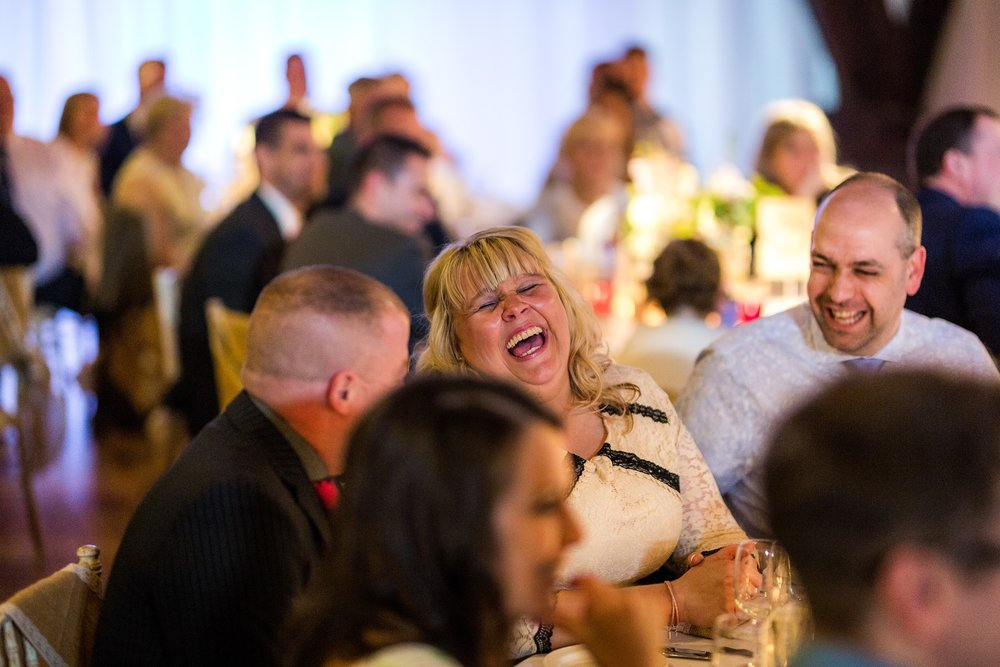 guests laughing at rivington barn, lancashire