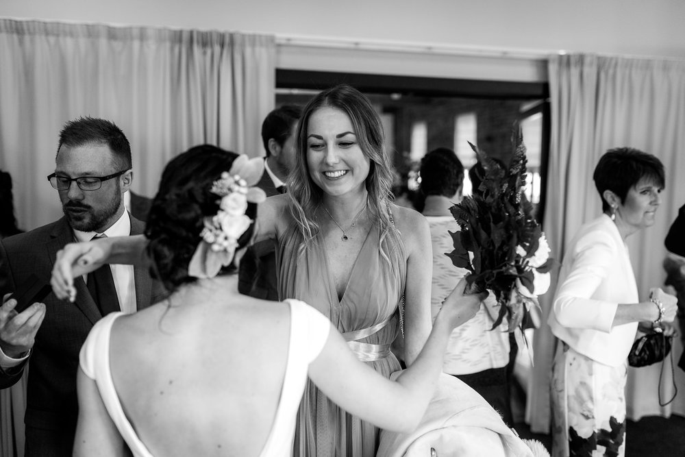 guests greeting the bride and groom