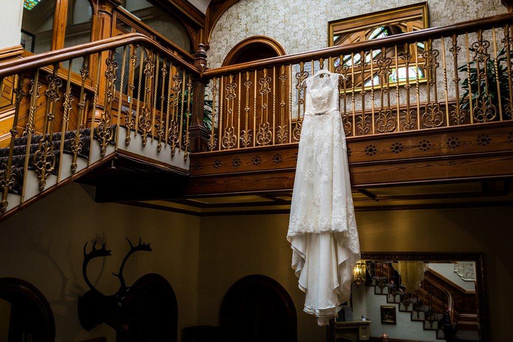 wedding dress hung at kilhey court, lancashire