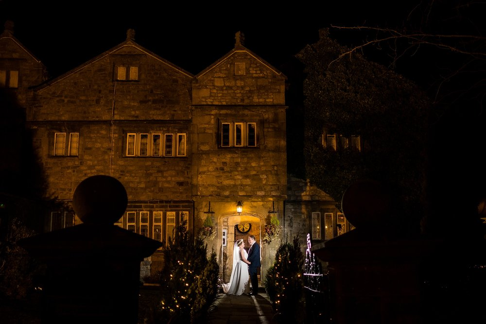 night portrait outside stirk house, lancashire