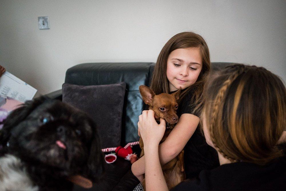 little girl holding dog