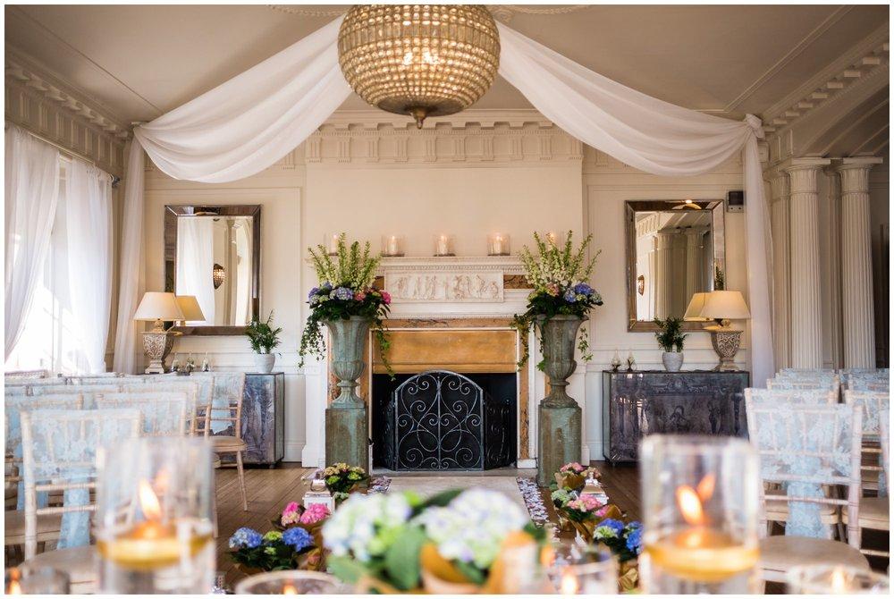 wedding room setup at eaves hall, lancashire