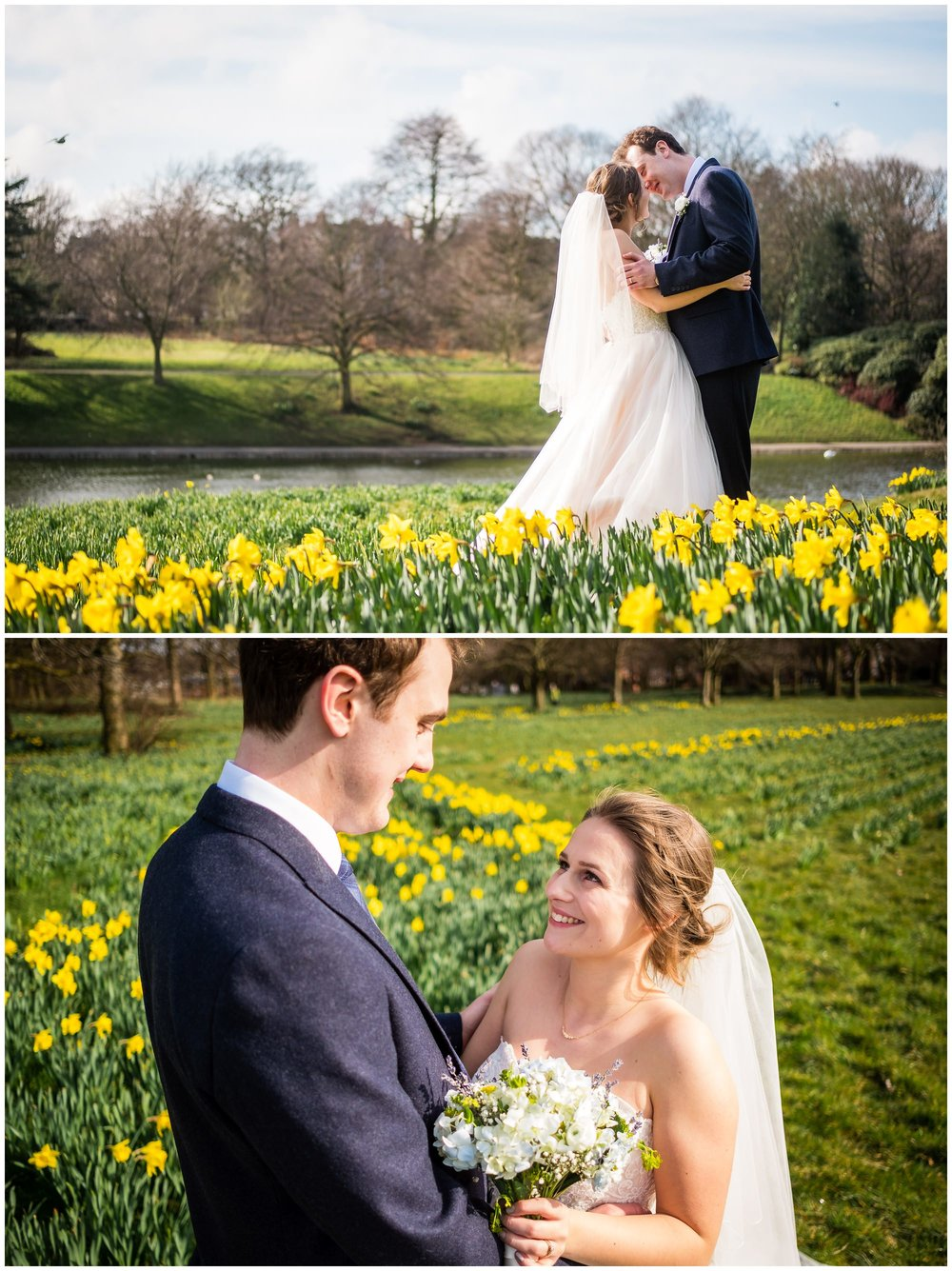 bride and groom portraits in sefton park, liverpool