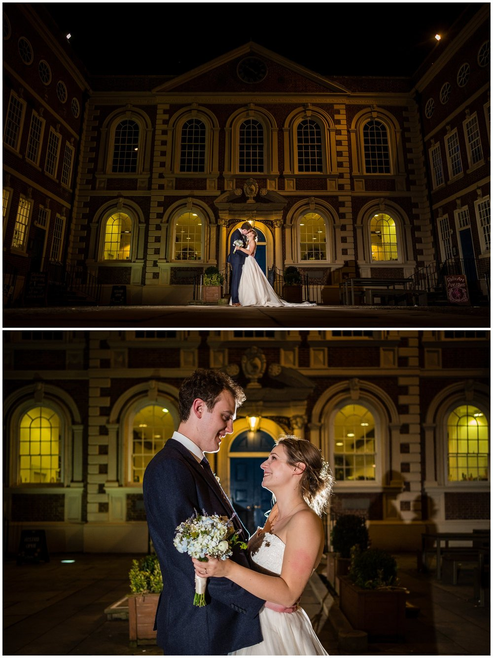 bride and groom night time portrait in liverpool