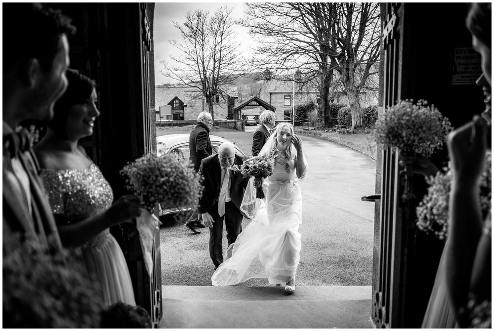 bride arriving at the church