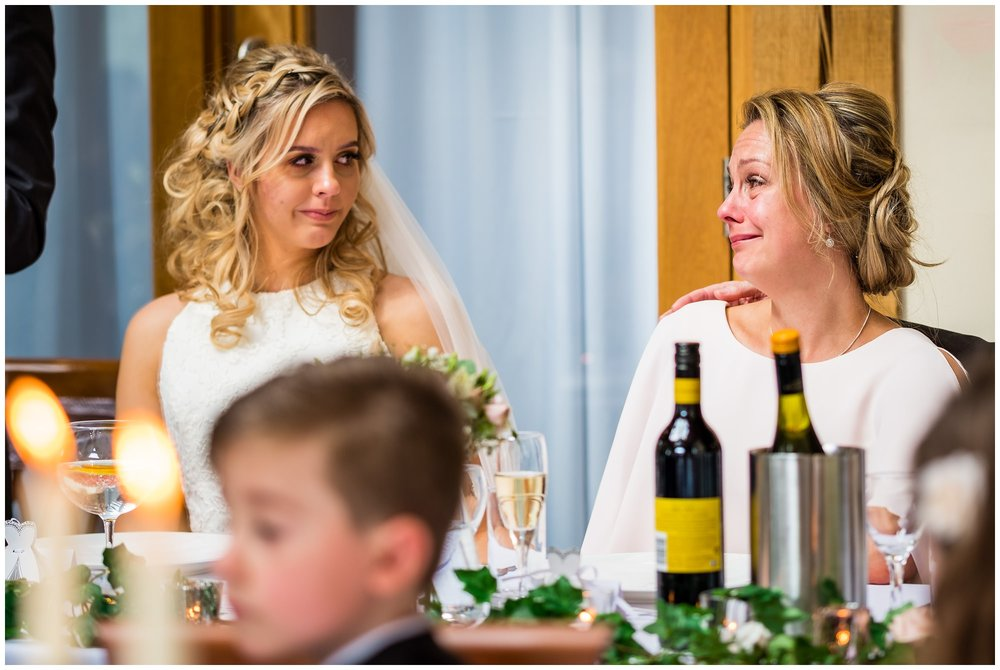 bride and mum exchanging glances