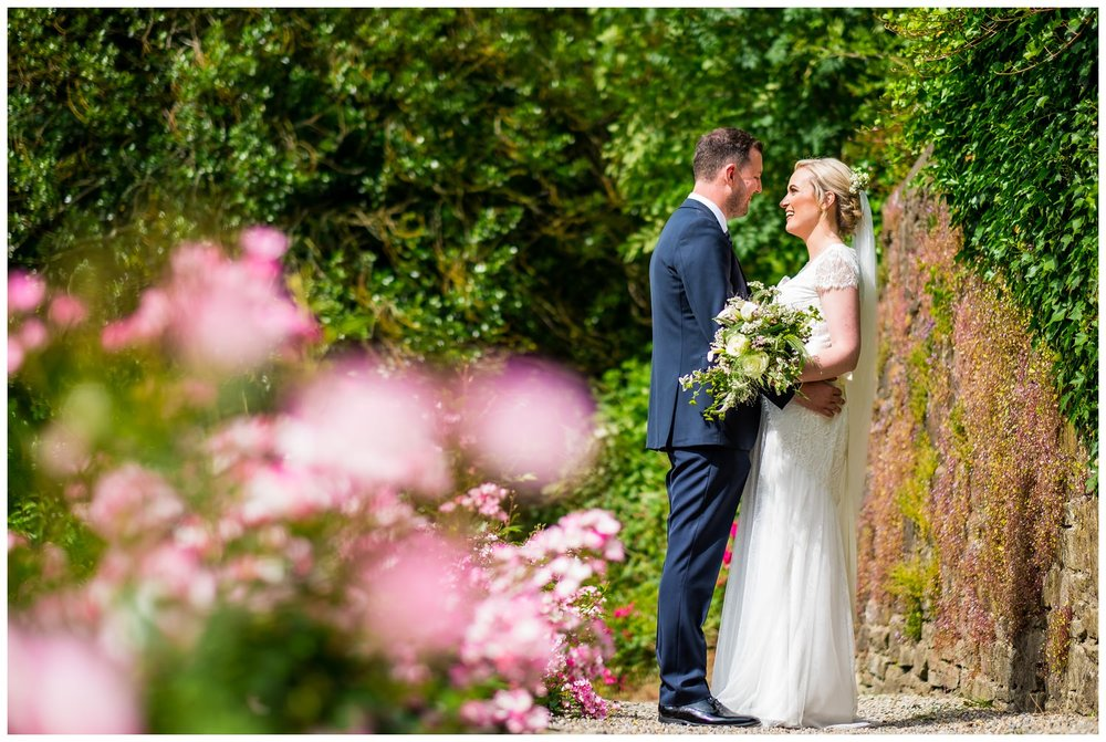 portrait of bride and groom at mitton hall