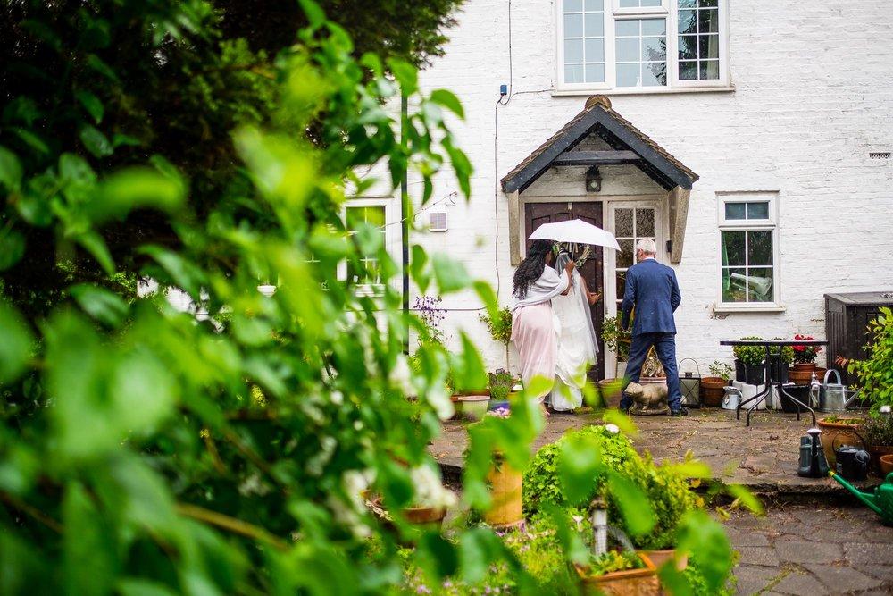 bride leaving for church