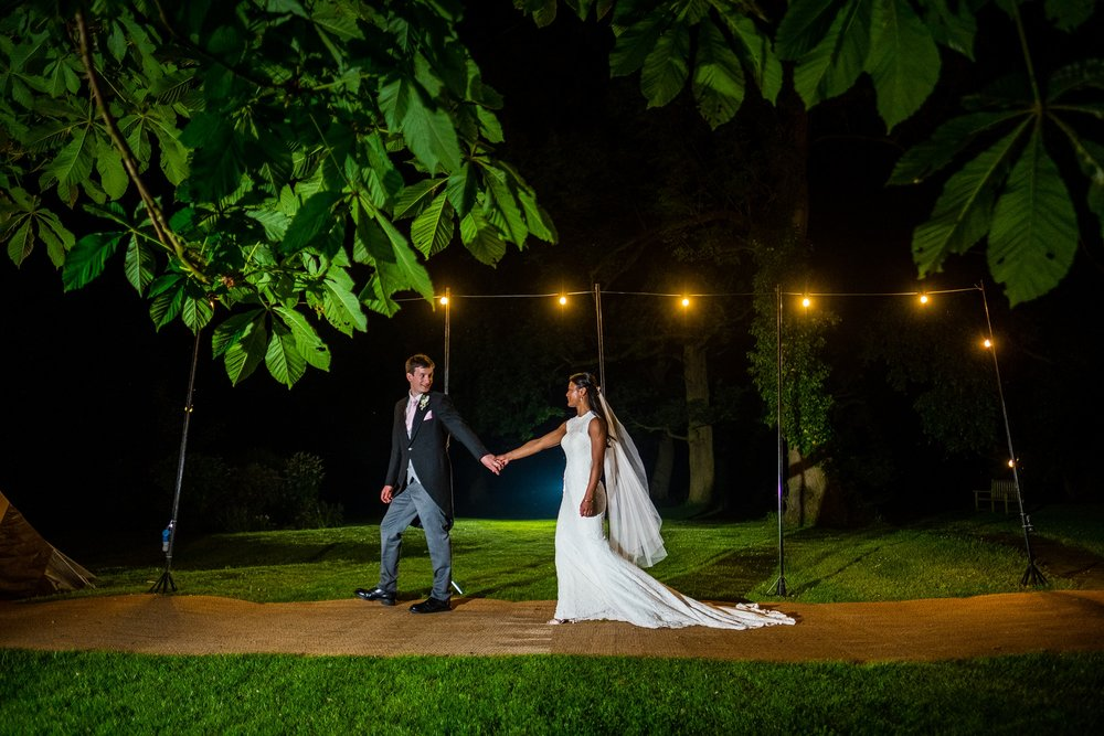 evening portrait with bride and groom