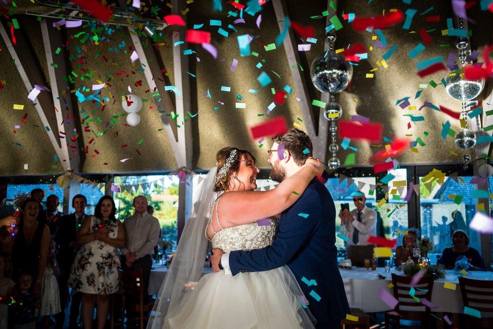 bride and groom first dance at brockholes