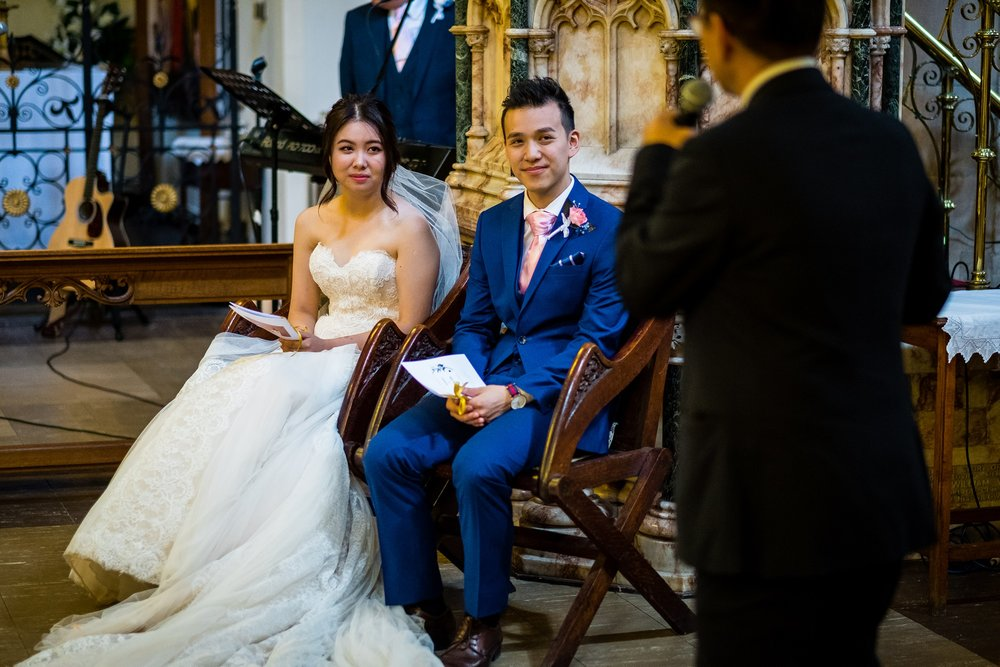 bride and groom sat down during wedding ceremony