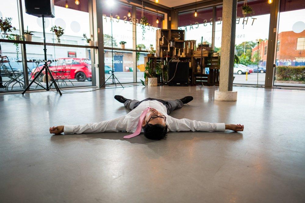 wedding guest on floor after dancing