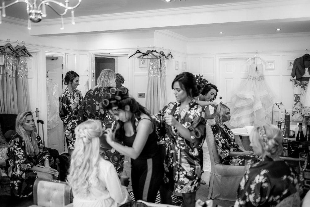 all wedding party getting ready