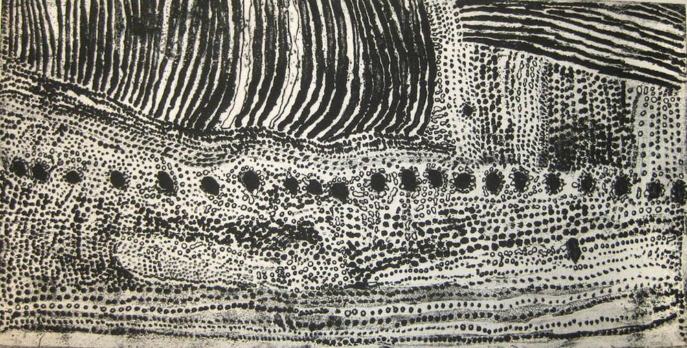 "Kitty Kantilla Untitled Etching 13"" x 25"" (32 x 64 cm) Catalog #ET1-AP3   Price Available upon Request"