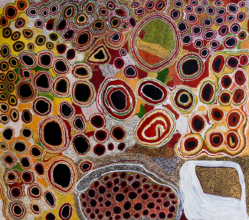 "Womens Collaborative  Nganampa Ngura  Acrylic on canvas 79.5"" x 91"" (202 x 231 cm) Catalog #13004   SOLD"