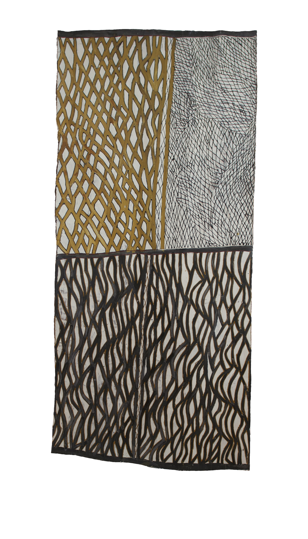 "Nonggirringa Marawili  Yathpika  Natural earth pigments on bark 72"" x 32"" (183 x 83 cm) Catalog #4431l   Price Available upon Request"