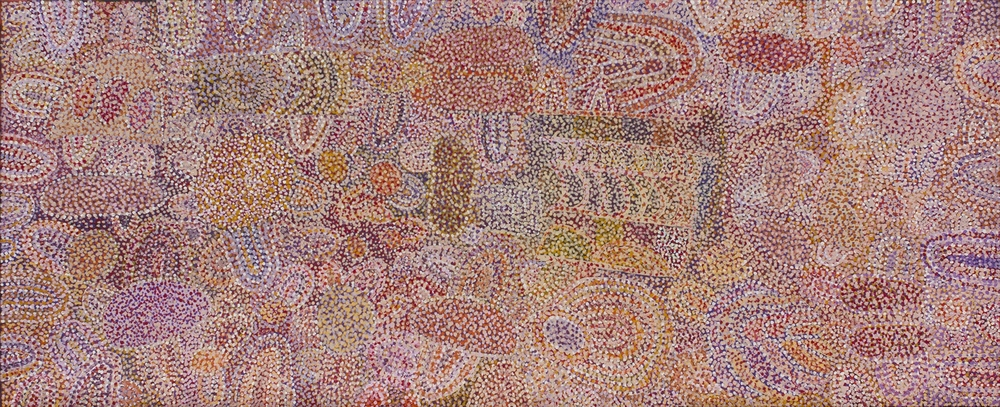 "Ngupulya Pumani  Ngura Walytja - Antara (My Country  - Antara)  Acrylic on linen 48"" x 118"" (122 x 300 cm) Mimili Maku Arts Catalog #224-15   SOLD"