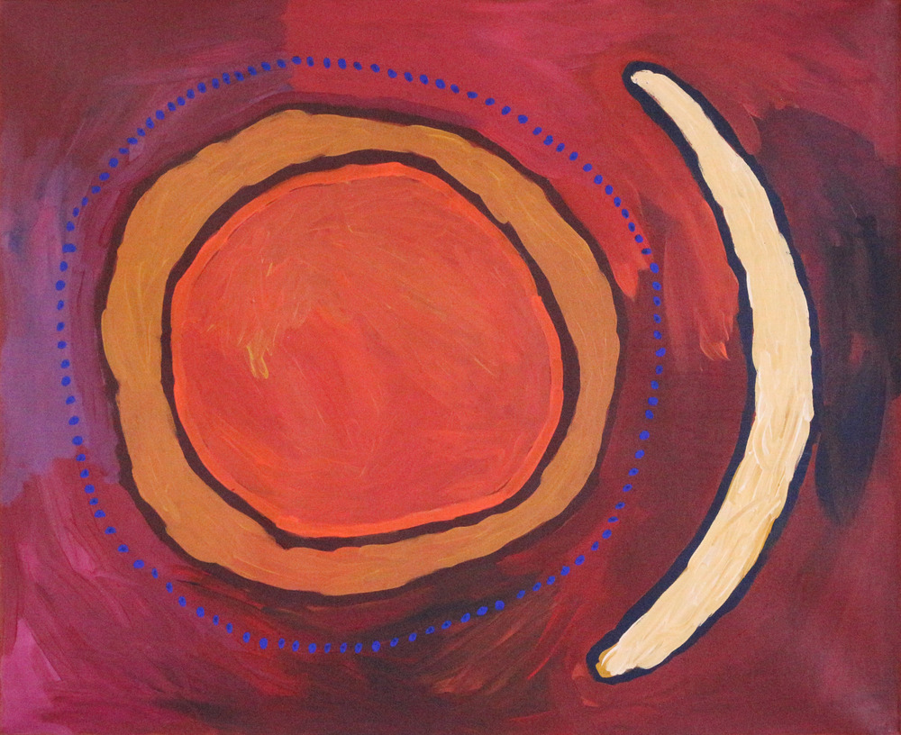 "Linda Puna  Kapi Tjukula (Rock Holes)  Acrylic on linen 36"" x 44"" (91 x 111 cm) Mimili Maku Arts Catalog #83-15   Price Available upon Request"