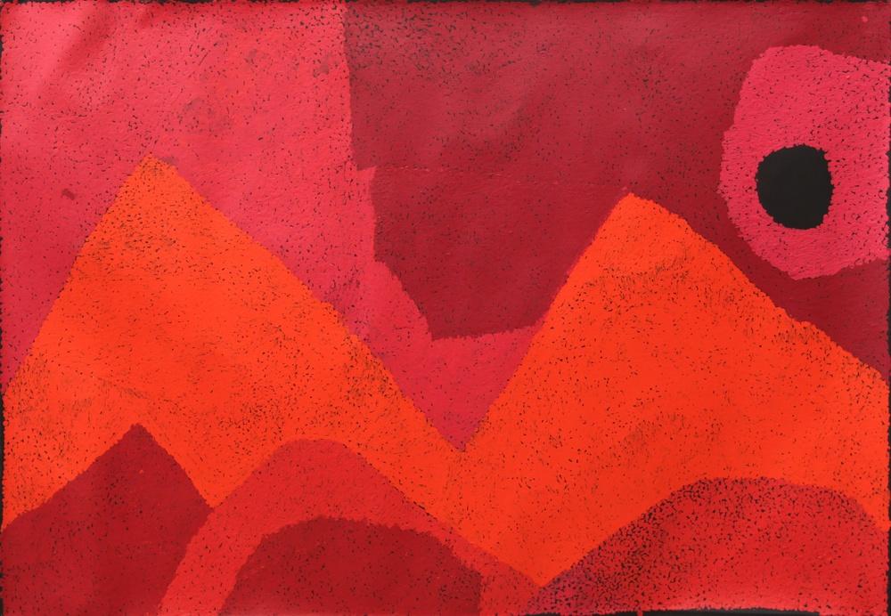 "Pepai Jangala Carroll  Walungurru  Acrylic on linen 33"" x 48"" (84 x 122 cm) Ernabella Arts Catalog #487-15   SOLD"