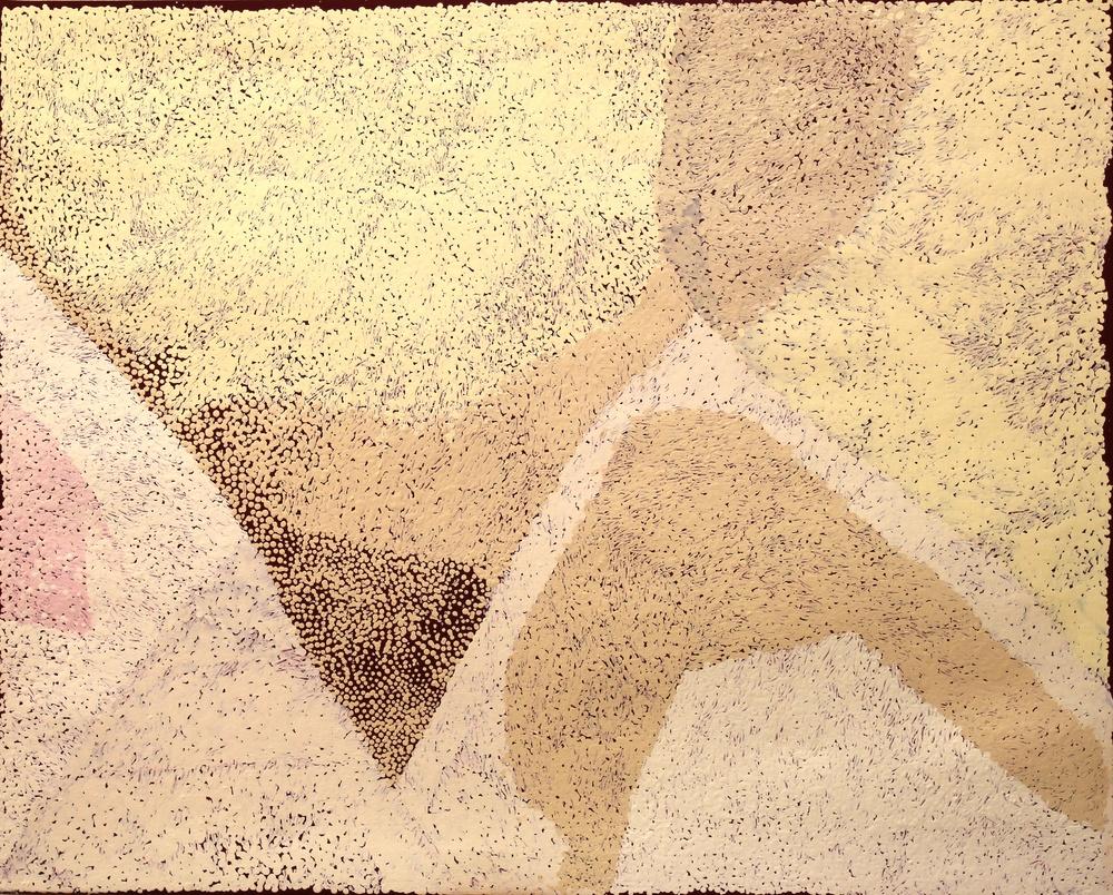 "Pepai Jangala Carroll  Walungurru  Acrylic on linen 31.5"" x 39"" (80 x 100 cm) Ernabella Arts Catalog #459-15   SOLD"