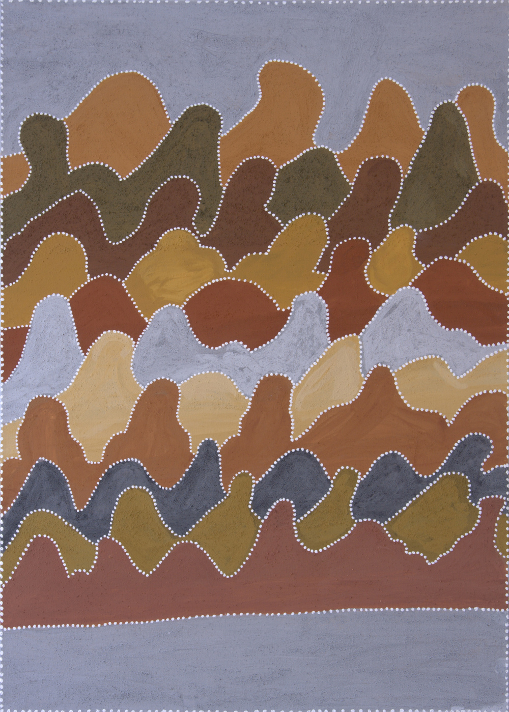 "Betty Carrington  Darrajayin  Natural ocher and pigments on canvas 55"" x 39"" (140 x 100 cm) Warmun Art Center Catalog #605/13   EMAIL INQUIRY"