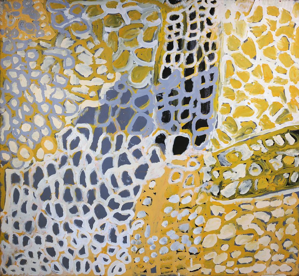 "Harry Tjutjuna  Mututa Tjukurpa  Acrylic on Canvas 73"" x 72"" (183 x 162 cm) Ninuku Catalog #10347   EMAIL INQUIRY"