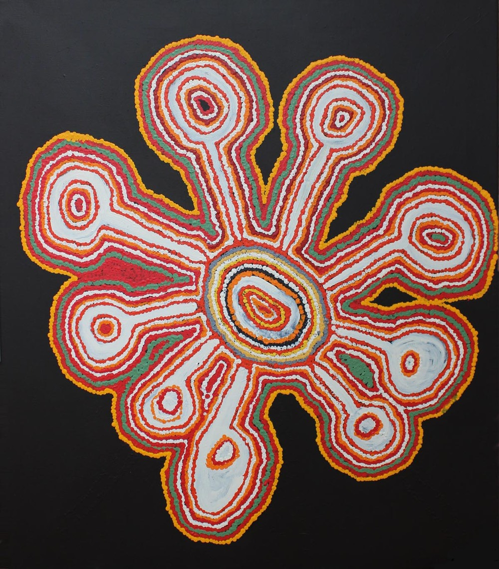 "Jimmy Donegan  Pukara  Acrylic on Canvas 40"" x 36"" (107 x 91cm) Ninuku Catalog #14-153   EMAIL INQUIRY"