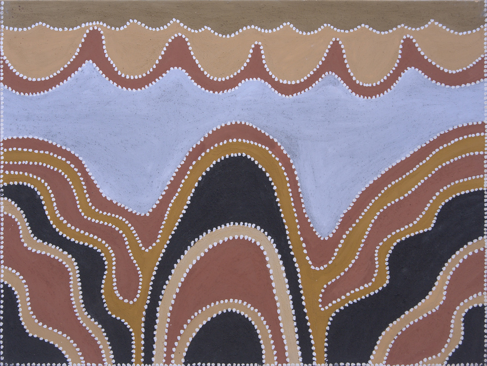 "Phyllis Thomas  Purnululu  atural ocher and pigments on canvas 47"" x 35"" (120 x 90 cm) Warmun Catalog #757/12   EMAIL INQUIRY"