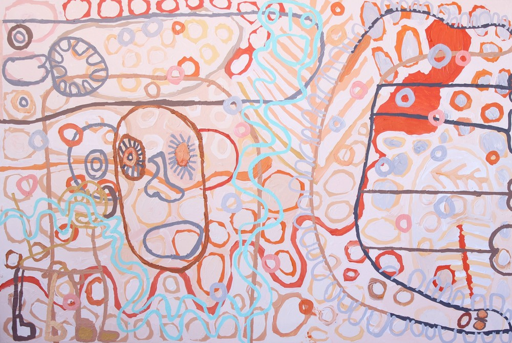 "Tiger Yaltangki  Malpa Wiru (Good Friends)  Acrylic on canvas 40"" x 60""(101 x 152 cm) Catalog #658-15   SOLD"
