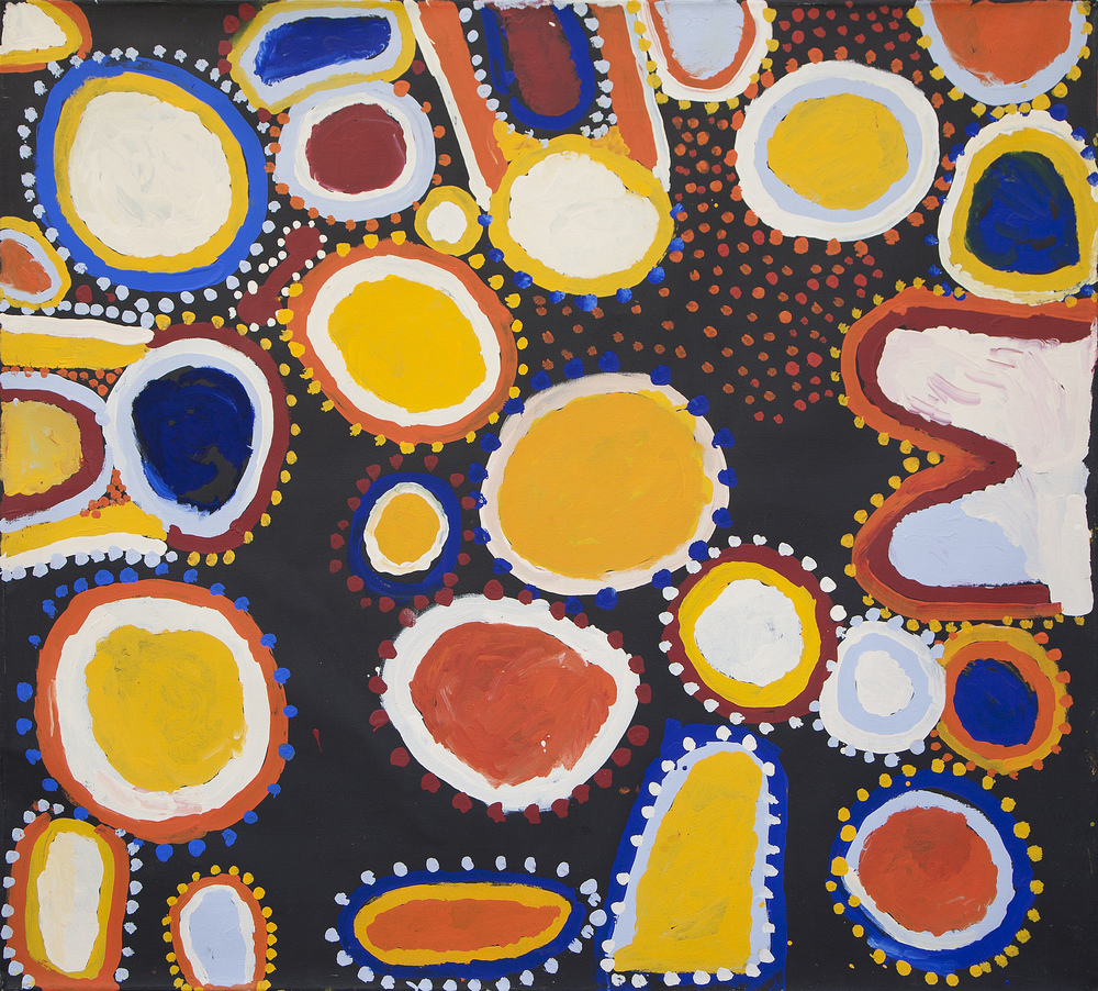 "Sandy Brumby  Victory Downs  Acrylic on Belgian linen 60"" x 66"" (153 x 167 cm) Ninuku Arts Catalog #11340   SOLD"