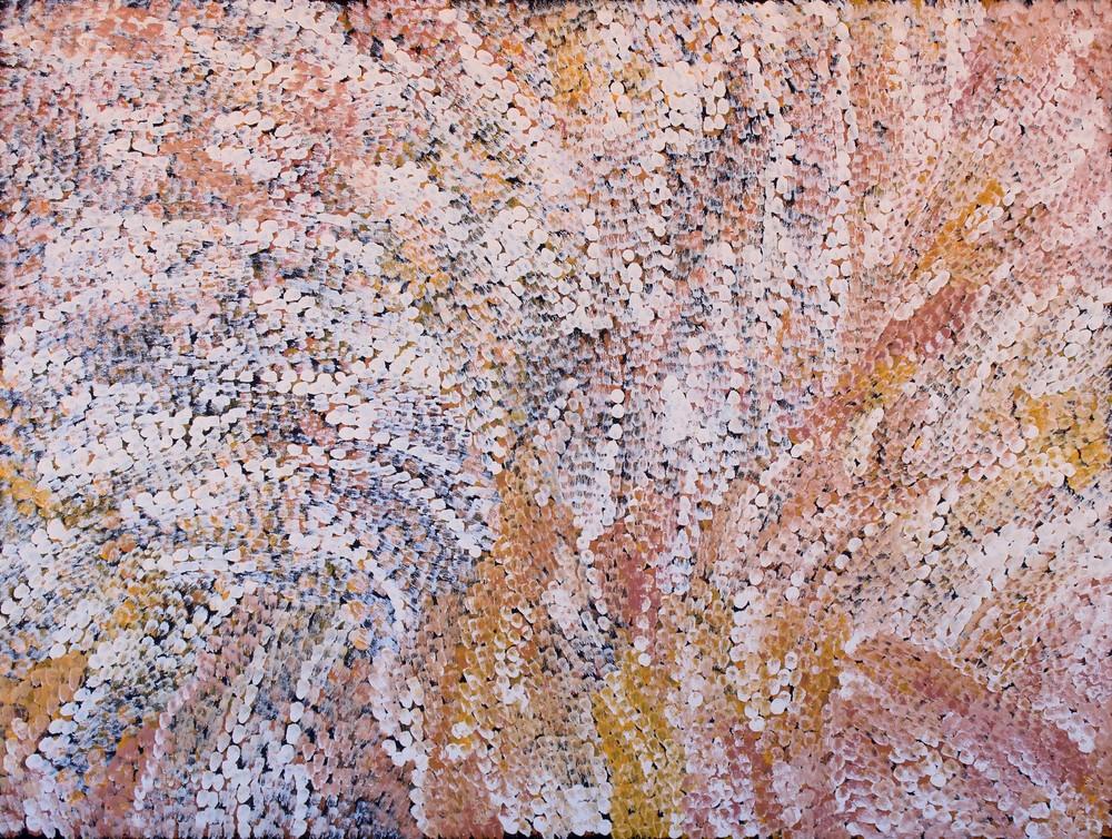 "Rosalind Tjanyari  Ngayuku Ngura Kuuti Uwankara (My Countries Energy and Spirit is everywhere)  Acrylic on canvas 36"" x 48"" (91 x 122 cm) Catalog #643-15   SOLD"