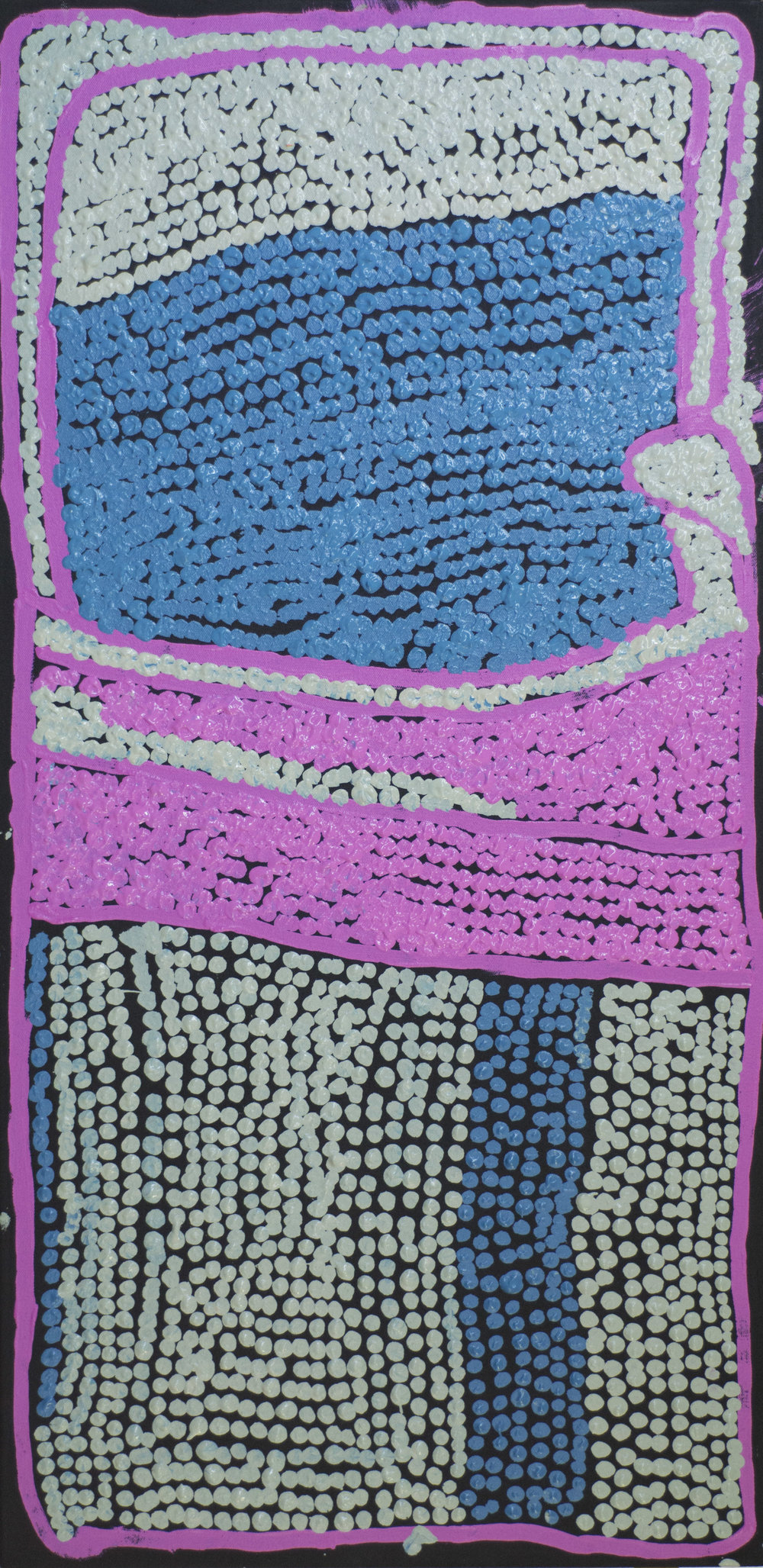 "Esther Giles  Purrungu, Python Story  Acrylic on canvas 20"" x 40"" (50.5 x 101.5 cm) Tjarlirli Art Catalog #15-150   EMAIL INQUIRY"