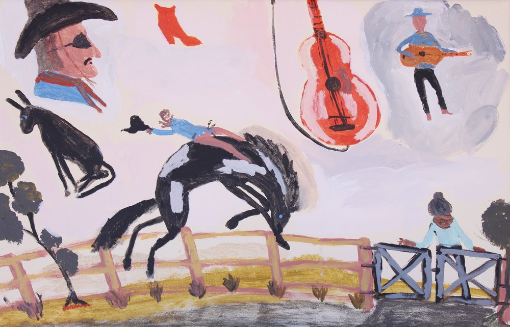 "Jimmy Pompey  Cowboy Story  Acrylic on canvas 18"" x 28"" (46 x 71 cm) Iwantja Arts Catalog #584-15   EMAIL INQUIRY"
