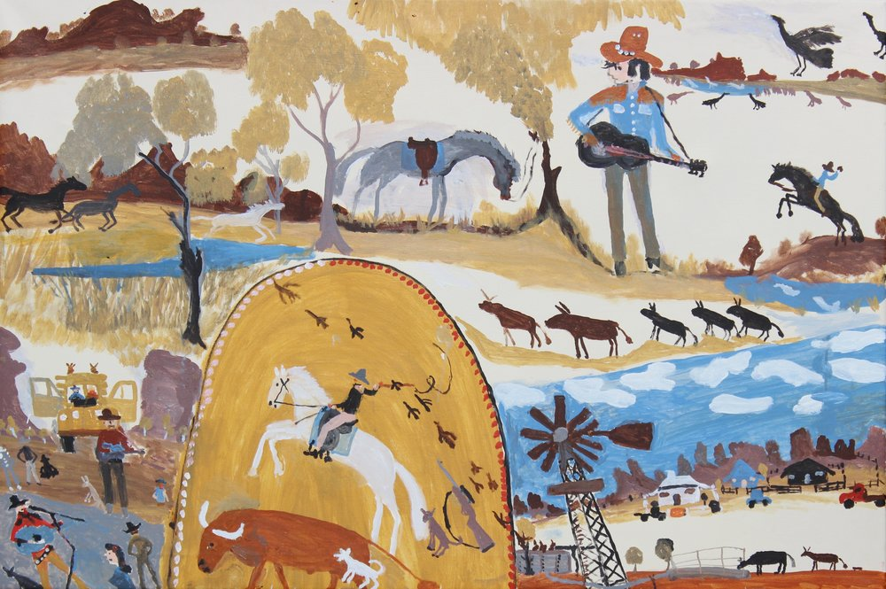 Jimmy Pompey  Cowboy Story  60 x 43 inches (152 x 101 cm) Acrylic on Belgian linen Iwantja Arts Catalog#57-16   EMAIL INQUIRY