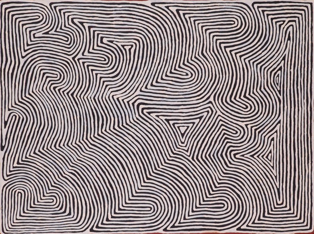 Ronnie Tjampitjinpa  Untitled  36 x 48 inches (91 x 122 cm) Acrylic on Belgian linen Papunya Tula Artists Catalog #RT1211003   EMAIL INQUIRY