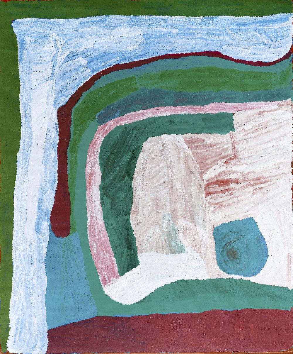 Lydia Balbal  Wirnpa  72 x 60 inches (183 x 152 cm) Acrylic on Belgian linen Bidyadanga Artists Catalog #28813   EMAIL INQUIRY