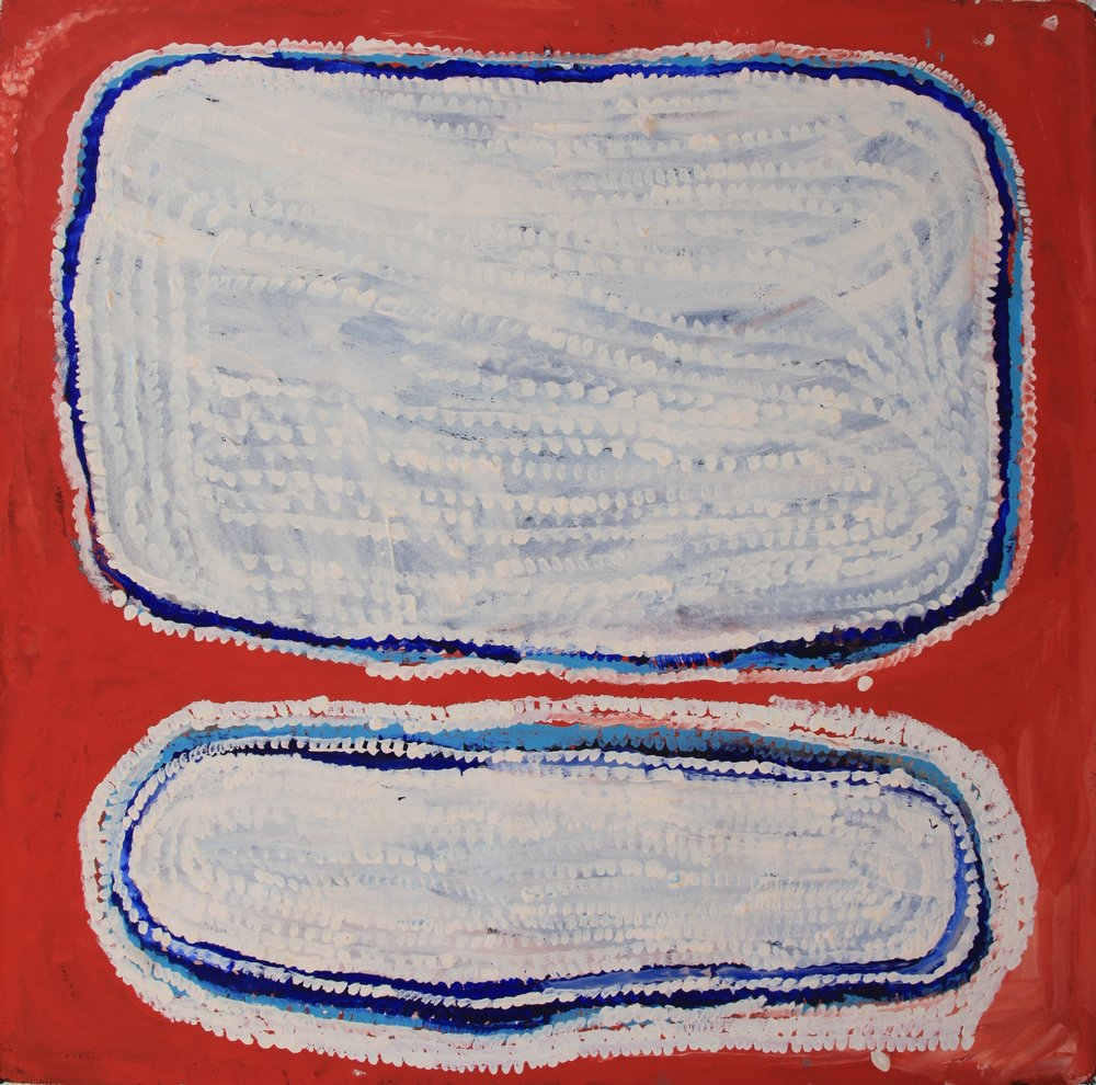 Bugai Whyoulter  Untitled  39 x 39 inches (100 x100 cm) Acrylic on Belgian linen Martumili Artists Catalog #14-62   EMAIL INQUIRY