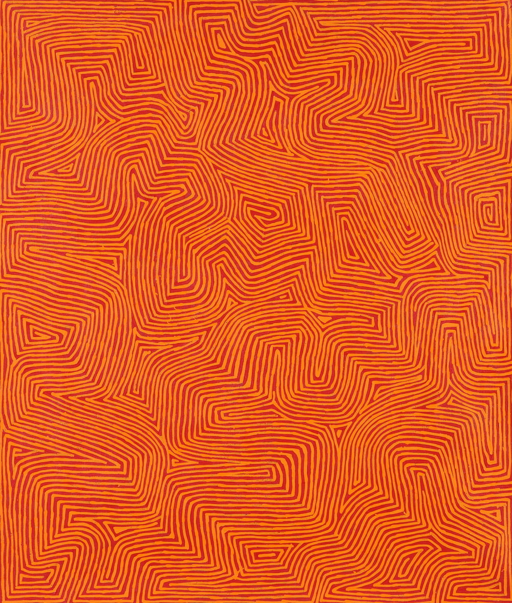 "George Tjungurrayi  Ngangkari boys at Kirrimalunya  Acrylic on Belgian linen 42"" x 36"" (107 x 91 cm) Papunya Tula Artists Catalog #1110106   EMAIL INQUIRY"