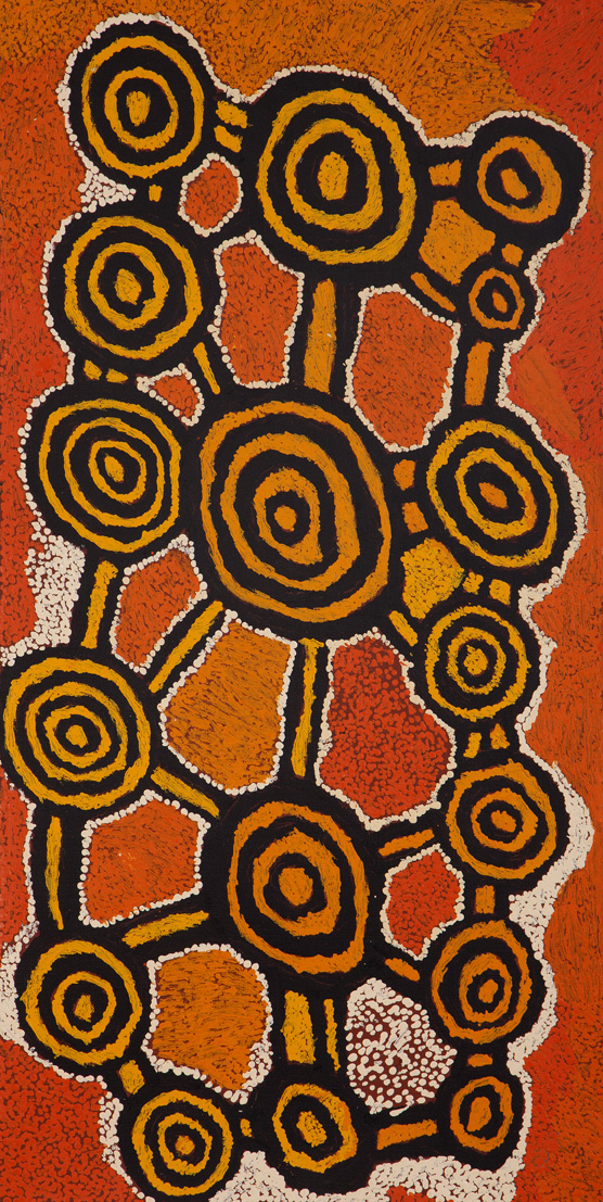 Johnny Yungut Tjupurrula Untitled Acrylic on canvas 46 x 91 cm Papunya Tula Arts Catalog #1207003   EMAIL INQUIRY