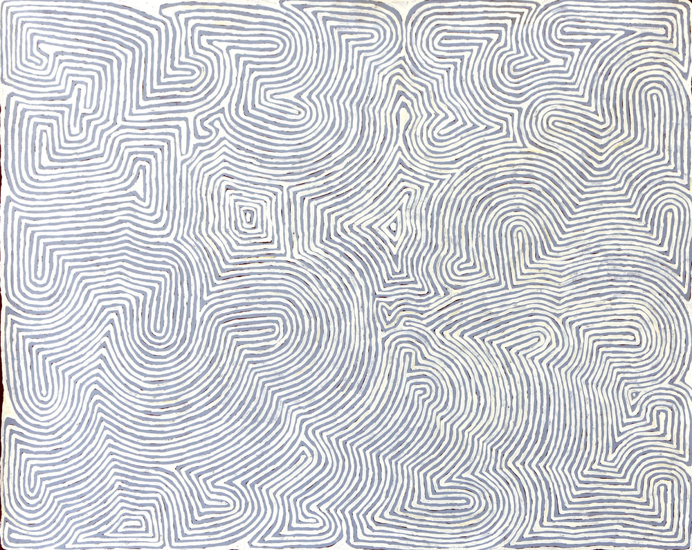 Ronnie Tjampitjinpa  Untitled  48 x 60 inches (122 x 152 cm) Acrylic on Belgian linen Papunya Tula Artists Catalog #RT1002089   EMAIL INQUIRY