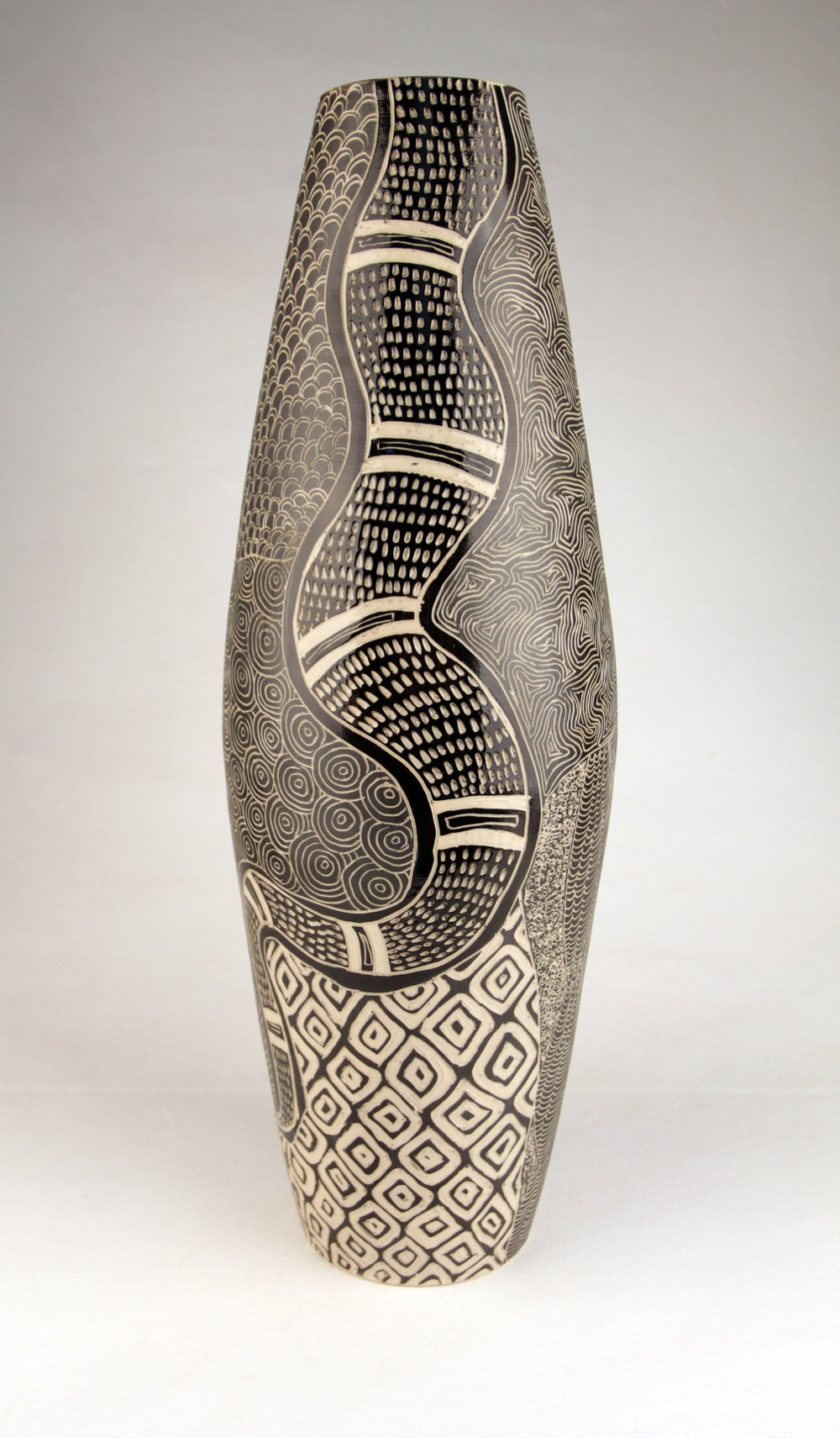 DEREK JUNGURRAYI THOMPSON  Wanampi (Rainbow Serpent Men), 2016  500H x 170mm Stoneware Catalog #433C-16         SOLD