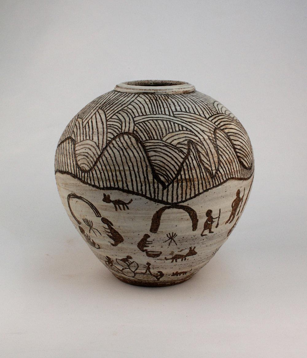 NININGKA MUNKURI LEWIS  Ara Irititja Ernabella-la   -Old days in Ernabella, 2017   285H x 290mm Stoneware Catalog #621C-17   SOLD