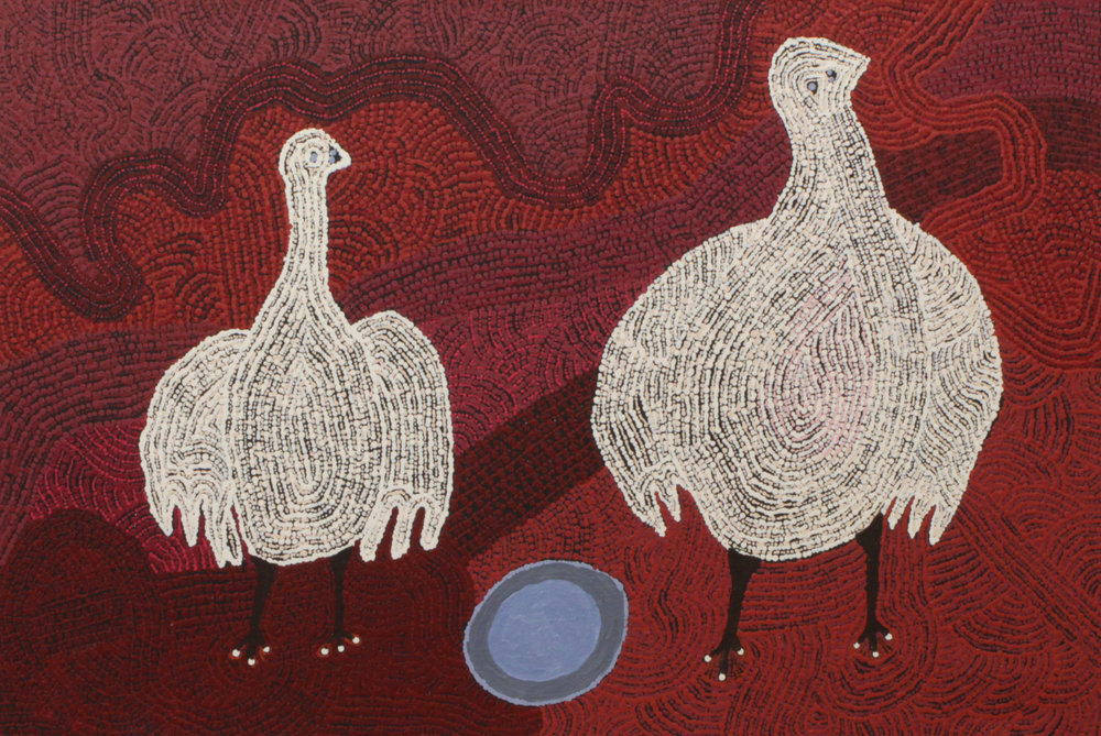 CARLENE THOMPSON  Tjulpu Kulunypa, 2017  680 x 1000mm Acrylic on Linen Catalog #407-17      EMAIL INQUIRY