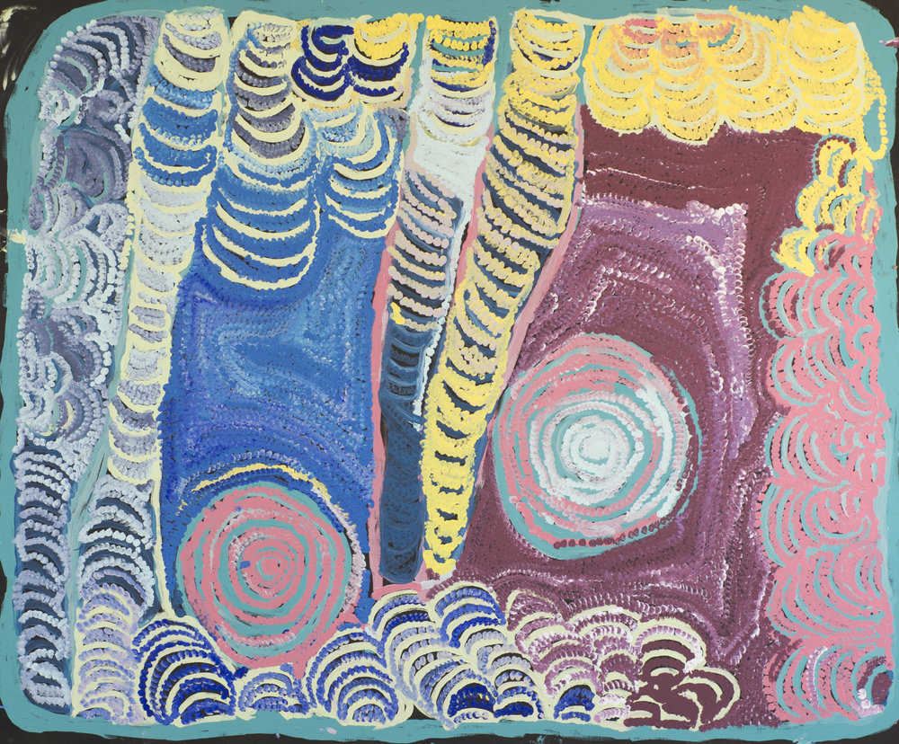 NYARAPAYI GILES  Warmurrungu  148 x 179 cm Acrylic on Belgian linen Tjarlirli Artists Catalog #15-588   EMAIL INQUIRY