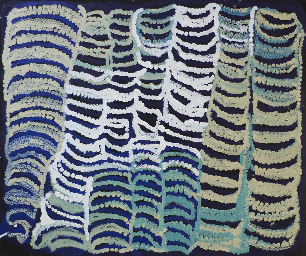 "NYARAPAYI GILES  Warmurrungu  39"" x 48"" (102 x 122 cm) Acrylic on Belgian linen Tjarlirli Artists catalog #15-143   EMAIL INQUIRY"