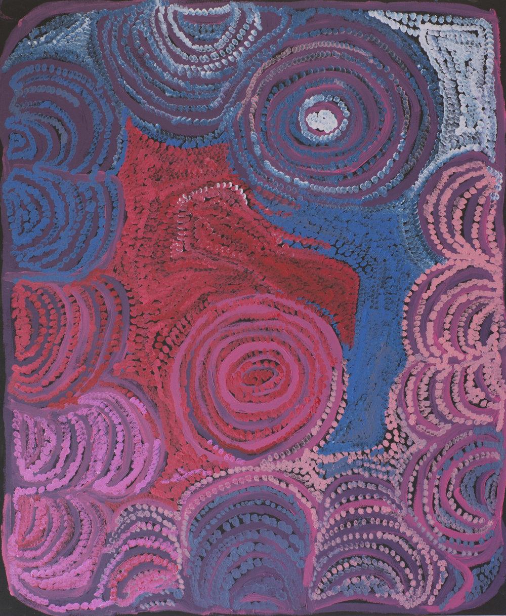 "NYARAPAYI GILES  Warmurrungu  39"" x 47"" (121 x 101.5 cm) Acrylic on Belgian linen Tjarlirli Artists catalog #15-586   EMAIL INQUIRY"