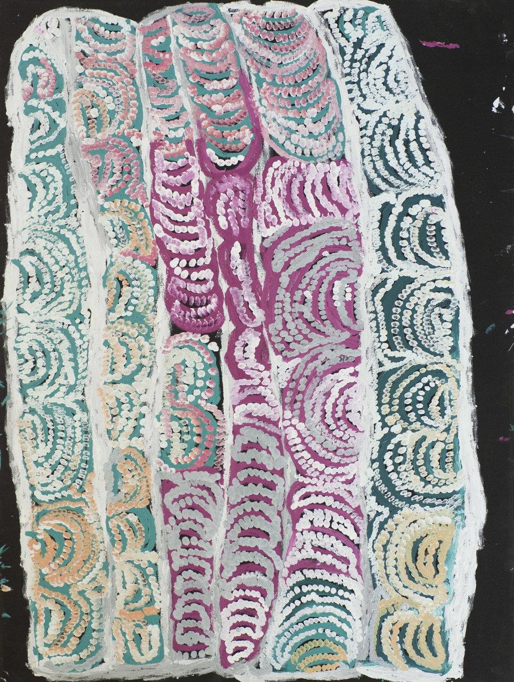 "NYARAPAYI GILES  Warmurrungu  38"" x 47"" (119.6 x 89.5 cm) Acrylic on Belgian linen Tjarlirli Artists catalog #14-589   EMAIL INQUIRY"